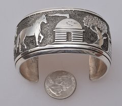 Signed, original Tommy Singer dead-pawn Sterling silver man's or woman's large storyteller cuff (click on pic for more photos)