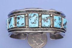 Sterling silver dead-pawn very traditional Navajo cuff with Sleeping Beauty turquoise.—SOLD!