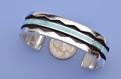 Sterling silver and turquoise man's Zuni Pueblo cuff by Larry Loretto.