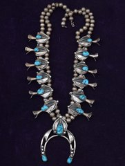 Old pawn Navajo shadow-box squash blossom necklace