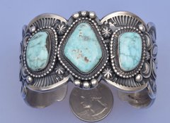 Man's dead-pawn Navajo cuff by Gilbert Tom.—SOLD!