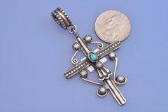 Navajo dead-pawn ornate Sterling silver cross.—SOLD!