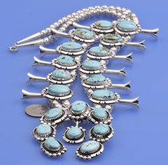 Navajo Sterling squash-blossom necklace with Royston, Nevada turquoise by Augustine Largo