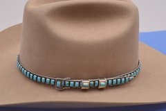 Navajo adjustable Sterling silver hat band with Royston, Nevada turquoise.—SOLD!