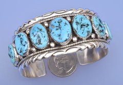 "Navajo dead-pawn nine-stone Sleeping Beauty turquoise cuff by ""Roanhorse.""—SOLD!"