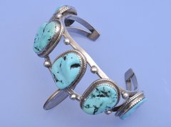 Dead-pawn Navajo six-stone Sterling cuff with Sleeping Beauty turquoise.—SOLD!