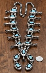 Old-pawn Navajo shadow box squash blossom necklace