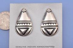 Dead-pawn sterling silver Navajo earrings