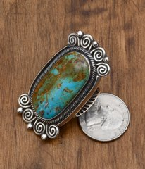 Outstanding dead-pawn Navajo Sterling ring with Royston turquoise.