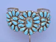 Zuni dead-pawn pedi-point Sterling cuff with Sleeping Beauty turquoise.—SOLD!