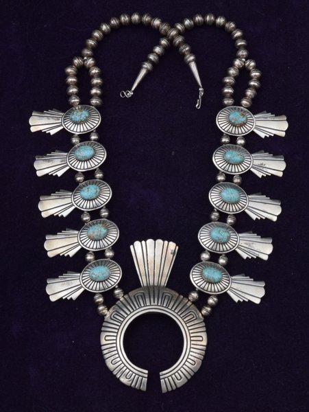 Vintage Tommy Singer Navajo Squash Blossom Necklace High
