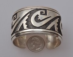 Signed, original Tommy Singer dead-pawn Sterling silver woman's large cuff.