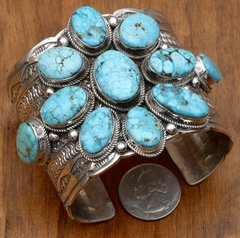 Large trophy Navajo Sterling cuff by Tillie Jon