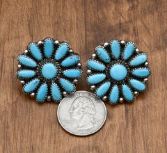 Vintage Navajo turquoise cluster earrings.
