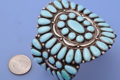 Old-pawn Zuni pedi-point large cluster cuff