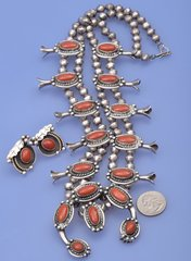 Vintage Navajo red-coral squash-blossom necklace.