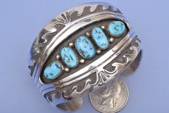 Stunning Sterling silver dead-pawn Navajo cuff with Sleeping Beauty turquoise.