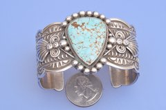 Stamped and repousse' Navajo cuff with No. 8 mine turquoise by Donovan Cadman