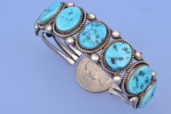 Nice seven-stone dead-pawn Navajo cuff with Sleeping Beauty turquoise
