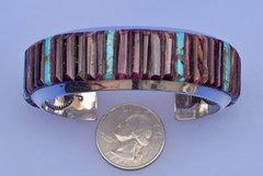 Zuni-crafted dead-pawn purple spiney oyster shell and Sterling silver cuff.—SOLD!