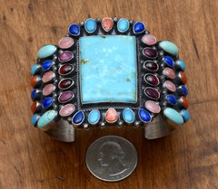 Colorful Navajo Sterling cluster-cuff by Anthony Skeets.