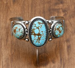 Navajo Sterling triplet cuff with No. 8 Mine turquoise by Augustine Largo