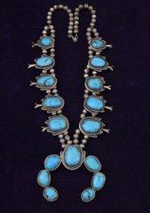 Navajo dead-pawn squash blossom necklace