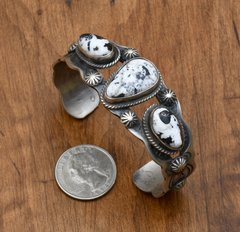 Sterling triplet cuff with White Buffalo stones by Chimney Butte.
