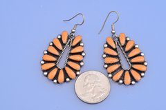Navajo dead-pawn Sterling earrings with orange spiney oyster shell settings.—SOLD!