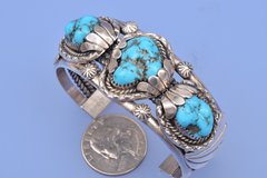 Older dead-pawn three-stone Navajo Cuff with Sleeping Beauty turquoise.—SOLD!