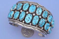 Man's dead-pawn Navajo cuff with 22 pieces of Sleeping Beauty mine turquoise.—SOLD!