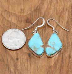 Sterling Navajo earrings with Kingman, Arizona turquoise by Elouise Kee.