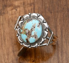 Navajo Sterling cuff with Kingman turquoise by Gilbert Tom.—SOLD!