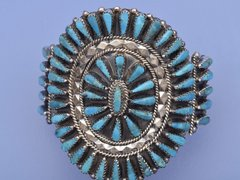 Pedi-point Sterling and turquoise cluster cuff by Tommy Lowe, Navajo.