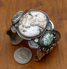 Custom-made Sterling triplet cuff with White Buffalo and No. 8 turquoise by Gilbert Tom, Navajo