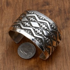 Wider double-overlay Navajo Sterling cuff by Elvira Bill.