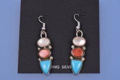 Navajo dead-pawn multi-stone earrings.—SOLD!