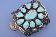 No. 8 Mine turquoise and Sterling silver wide Navajo cuff by Andy Cadman.
