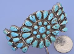 Dead-pawn Zuni pedi-point cluster cuff with Sleeping Beauty turquoise.