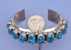 Classic, heavy-gauge Navajo Dead-pawn cuff with Sleeping Beauty turquoise.—SOLD!