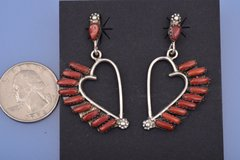 Vintage heart-shaped earrings with red coral