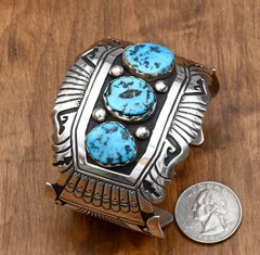 Classic Singer-style double overlay cuff with Sleeping Beauty turquoise by T&R Singer.