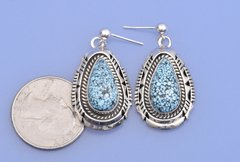 Sterling Navajo earrings with water-web Kingman turquoise by Elouise Kee.—SOLD!