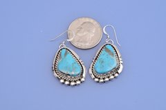 Classic Navajo Sterling earrings with Kingman turquoise by Alonzo Largo.