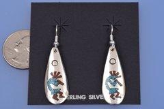 Chipped inlay Navajo Kokopelli earrings