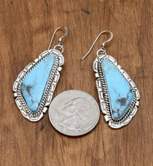 Navajo Sterling earrings with Kingman mine turquoise by Augustine Largo