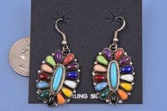 Dead-pawn Zuni Pueblo cluster multi-color earrings.—SOLD!