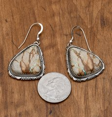 Navajo Sterling earrings with boulder/ribbon turquoise by Elousie Kee