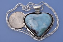 Larimar heart-shaped pendant w/chain by Eloise Kee, Navajo.—SOLD!