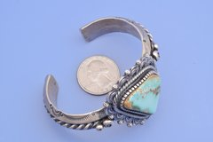 Heavy silver Navajo dead-pawn cuff with Pilot Mountain turquoise, by Hank Vandever.—SOLD!
